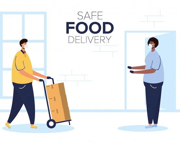 Безопасный работник доставки еды с коробками в корзине и клиенте