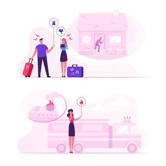 안전한 가정 개념. 만화 평면 그림