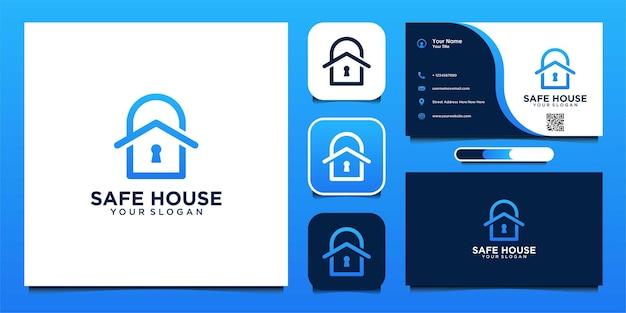 Дизайн логотипа безопасного дома с замком и визитной карточкой