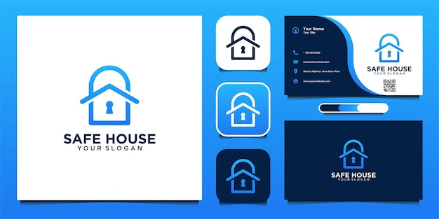 Safe house logo design with padlock and business card