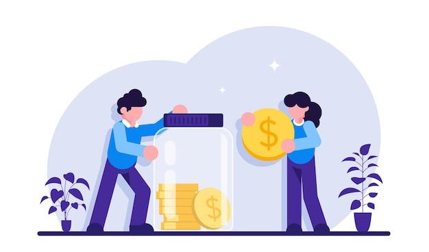 Концепция безопасных денег мужчина и женщина, вставляя наличные в стеклянную банку