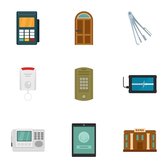 Safe money icon set. flat set of 9 safe money icons