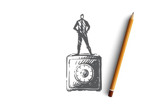 安全、お金、セキュリティ、金融、ボックスの概念。お金の概念のスケッチのための金庫の上に立っている手描きの男。図。