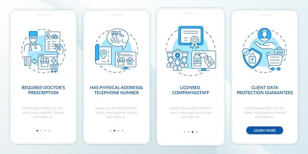 Безопасная интернет-аптека подписывает экран страницы мобильного приложения с концепциями