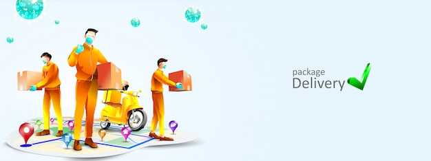 Safe package delivery during corona virus pandemic with scooter. a courier use surgical disposable face mask to protect from covid-19. online delivery service and online order tracking concept