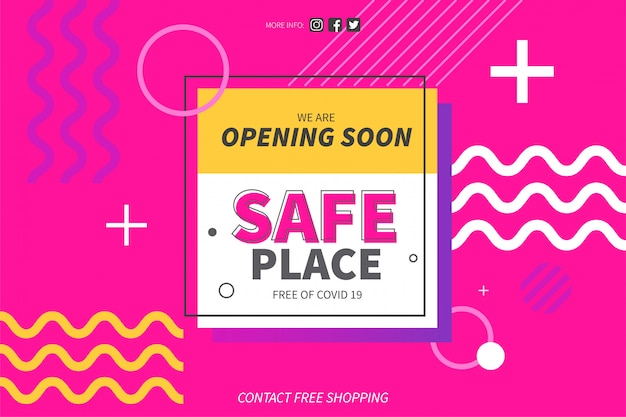 Safe place from covid 19 background template