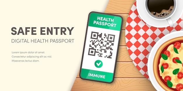 안전한 식당 입구 배너입니다. 스마트폰 화면 벡터 개념의 covid-19 디지털 건강 여권 qr 코드입니다. 전자 예방 접종 녹색 증명서 또는 음성 코로나 바이러스 테스트 증거 모바일 앱.