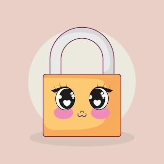 안전한 보안 자물쇠 귀엽다 캐릭터
