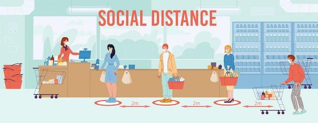 Безопасная социальная дистанция до двух метров у постера с инструкциями по очереди в супермаркете.