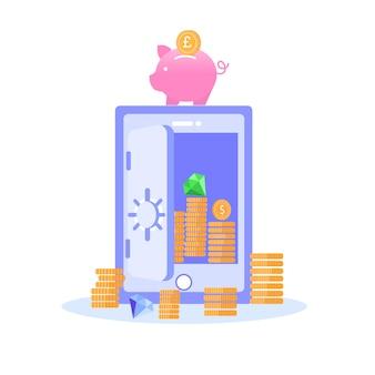 Safe storage of savings gold gems vector banner