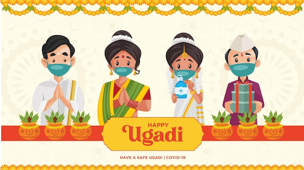 Safe ugadi illustration with indian people wearing mask happy ugadi indian new year festival