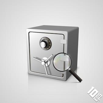 Сейф с увеличительным стеклом арт-объектом. векторная иллюстрация