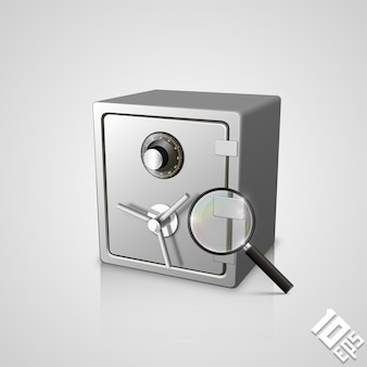 Safe with a magnifying glass art object. vector illustration