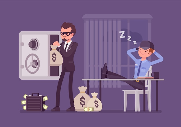 Safecracking man. masked thief breaking open into a safe, robbing office, stealing money bag while security guard is sleeping not notice intruder and damage.   style cartoon illustration