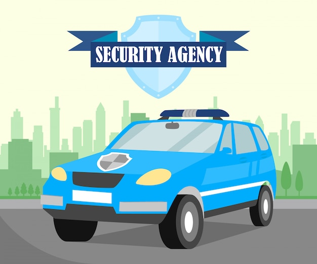 Safeguarding company car flat banner template