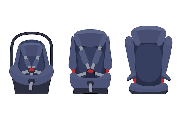 Safety baby car seats collection. different type of child restraint. isolated objects