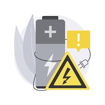 安全バッテリー。充電の安全性、保護されたエネルギーデバイス、スマートフォンのバッテリーの安全な使用とリサイクル、爆発の危険性、充電不可。