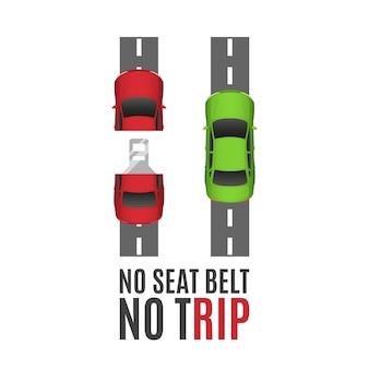 安全ベルトの概念的な背景。2台の車、道路とシートベルトの安全ベルトの概念的な背景。