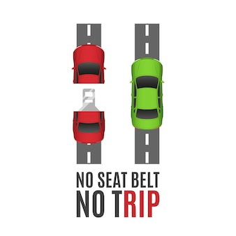 Safety belt conceptual background.safety belt conceptual background with two cars, road and seat belt.