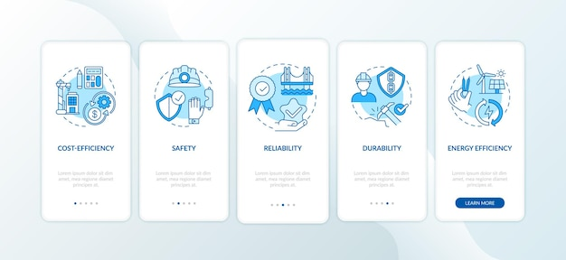 Safety in civil engineering blue onboarding mobile app page screen with concepts