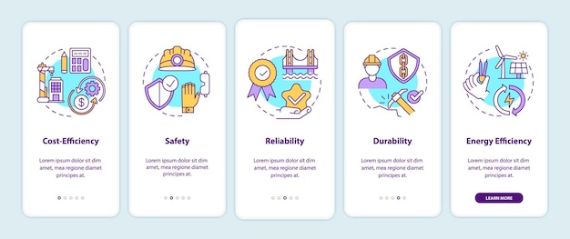 Safety in civil engineering onboarding mobile app page screen with concepts illustrations
