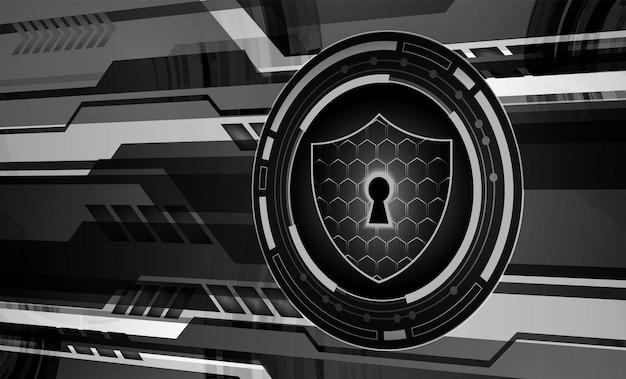 안전 개념 디지털 사이버 보안에 닫힌 자물쇠 블루 추상 안녕 속도 인터넷 프리미엄 벡터