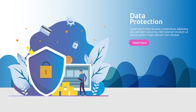 Safety and confidential data protection. vpn internet network security. traffic encryption personal privacy concept with people character. web landing page, banner, presentation, social or print media