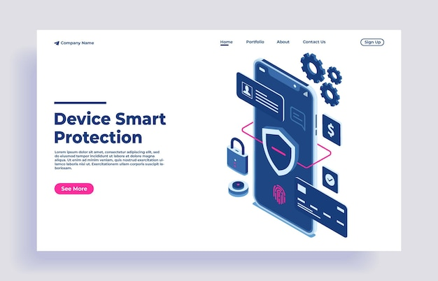 Safety and confidential data protection with code and check access concept isometric