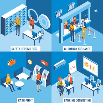 Safety deposit box, currency exchange, cash point and banking consulting concept