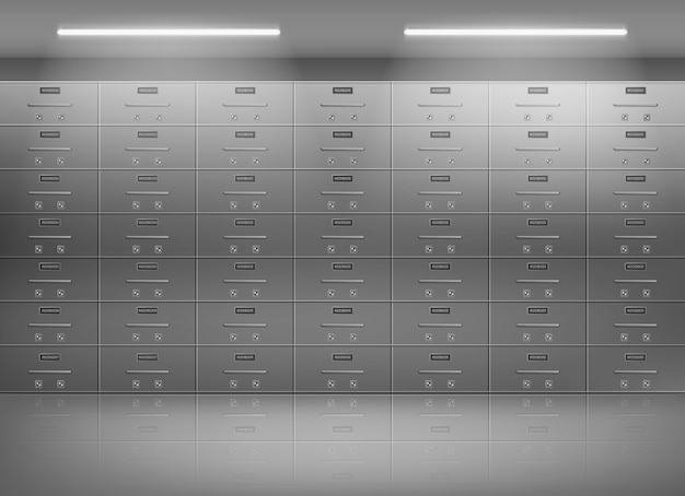 Safety deposit boxes in bank realistic vector