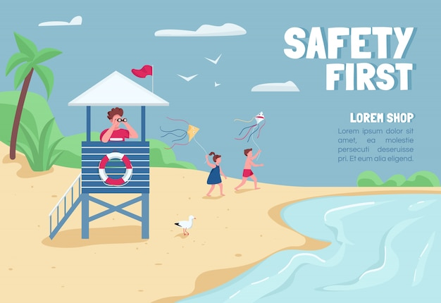 Safety first banner flat template. brochure, poster concept design with cartoon characters. tropical sand beach lifeguard in tower horizontal flyer, leaflet with place for text