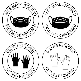Safety gloves are required face mask required warning prevention sign do not enter without mask