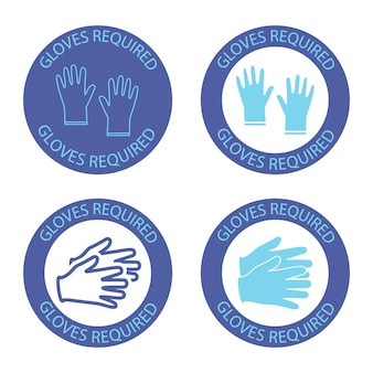 安全手袋が必要です。内側にレタリンググローブが必要な丸い青いシンボル。ウイルス防止アイコン。ウイルス拡散防止の概念。白い背景で隔離のベクトル図