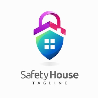 Safety house logo with padlock concept