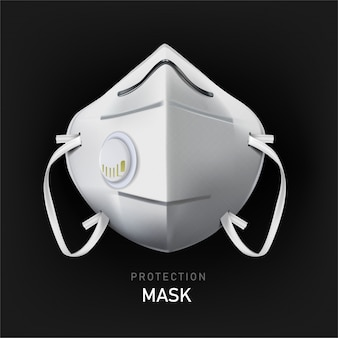 Safety mask. industrial safety n95 mask, protection respirator and breathing medical respiratory mask. hospital or pollution protect face masking, illustration.
