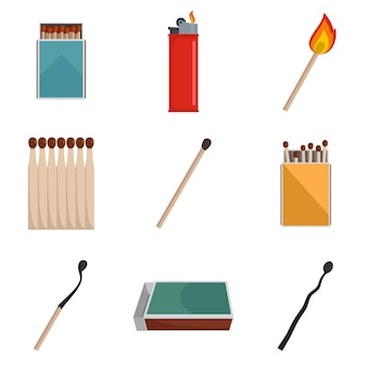 Safety match ignite burn icons set vector isolated