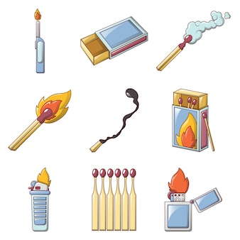 Safety match ignite burn icons set
