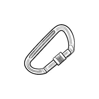 안전 등산 카라비너 손으로 그린 개요 낙서 아이콘. 등반 장비, 산악 안전 개념