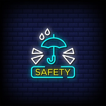 Safety neon signs style text