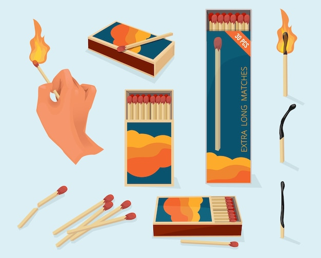 Safety packages for matchstick wooden stick flame symbols illustration in cartoon style.