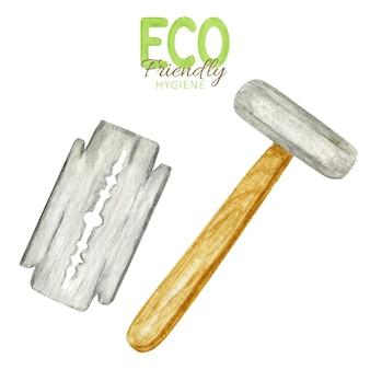 블레이드가있는 안전 면도기. 나무 손잡이가있는 재사용 가능한 면도기.