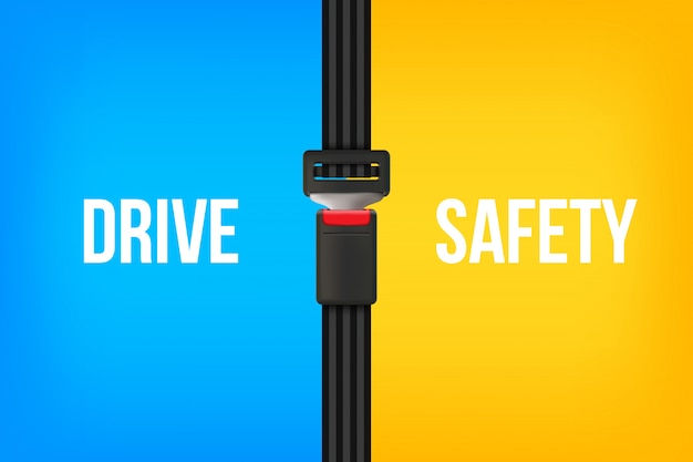Safety seat belt, open and closed seatbelt.