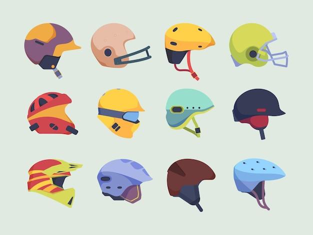 安全スポーツヘルメット。ヘッドアクシデントプロテクションアイテムレースバイクホッケーとペイントボールヘルメットベクトル。オートバイやスポーツ用品のイラスト保護ヘルメット