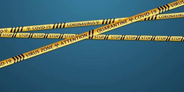 코로나바이러스 경고 라벨과 생물학적 위험 기호가 있는 안전 테이프. 연한 파란색 배경에 부드러운 그림자가 있는 검정색과 노란색 색상
