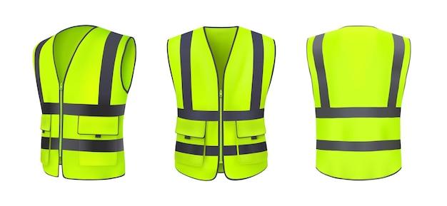 安全ベストの正面図、背面図、側面。反射ストライプのある黄色、薄緑色のジャケット。建設工事、運転手、道路作業員用の蛍光保護付き安全ベスト。現実的な3dベクトル