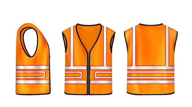 Safety vest front side and back view orange sleeveless jacket with reflective stripes for road works