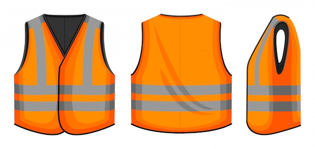 Safety vest  illustration on white background . jacket of worker  cartoon set icon. isolated cartoon set icon safety vest.
