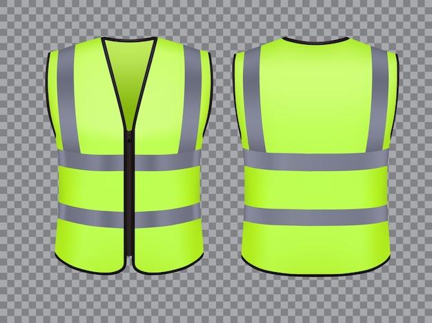 安全ベストジャケット、隔離されたセキュリティ、交通および労働者のユニフォームの摩耗、ベクトルの現実的なモックアップ。緑色の再帰反射ストライプ、警備員、または個人用保護服を備えた安全ベスト