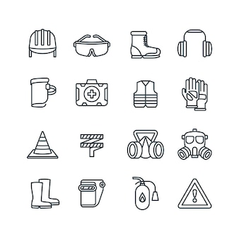 Safety work equipment and protective clothing line vector icons
