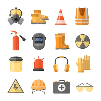 Safety at work icons set in a flat style
